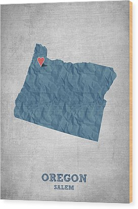 I Love Salem Oregon- Blue Wood Print by Aged Pixel