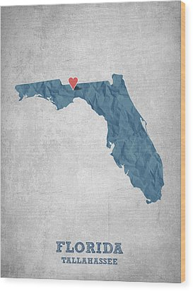 I Love Tallahassee Florida - Blue Wood Print by Aged Pixel