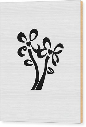 Wood Print featuring the drawing I Love You Flowers by Tamir Barkan