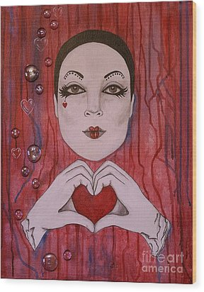Wood Print featuring the painting I Love You by Jane Chesnut