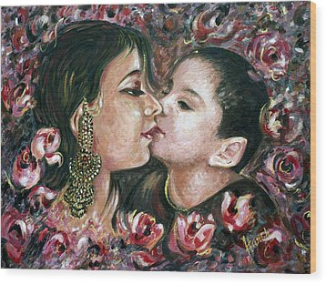 Wood Print featuring the painting I Love You Mom by Harsh Malik