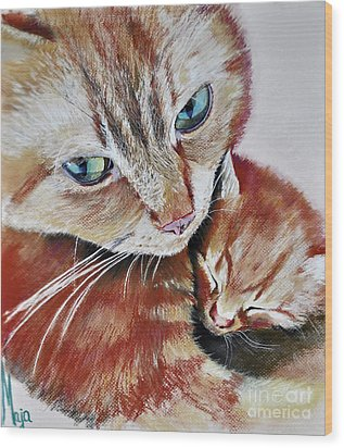 Wood Print featuring the drawing I Love You Mommy by Maja Sokolowska