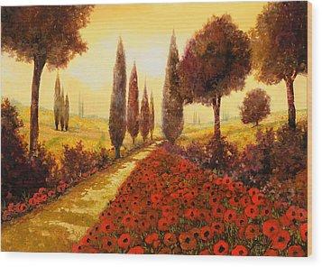 I Papaveri In Estate Wood Print by Guido Borelli