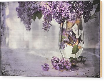 I Picked A Bouquet Of Lilacs Today Wood Print by Theresa Tahara