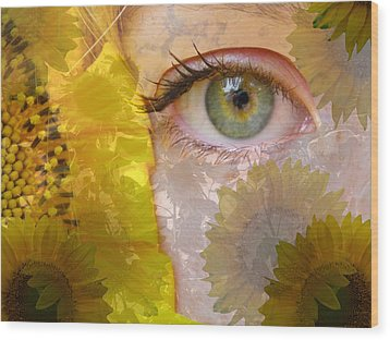 I See Sunflowers Wood Print
