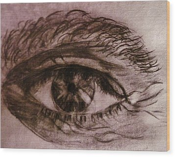 Wood Print featuring the drawing I See You... by Cristina Mihailescu