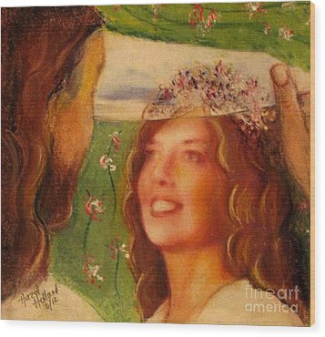Wood Print featuring the painting I Will Lift The Veil by Hazel Holland