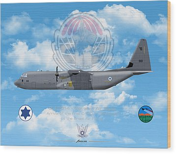 Wood Print featuring the drawing Iaf C-130j Shimshon by Amos Dor