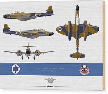 Wood Print featuring the drawing Iaf Gloster Meteor Nf 13 Nr 50 by Amos Dor