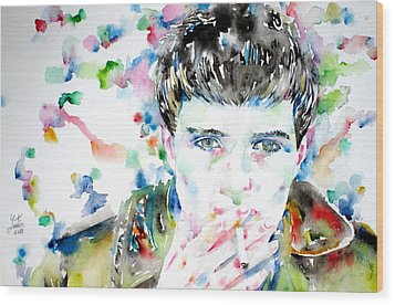 Ian Curtis Smoking Cigarette Watercolor Portrait Wood Print by Fabrizio Cassetta