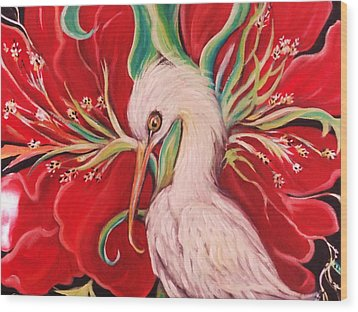 Wood Print featuring the painting Ibis And Red Flower by Yolanda Rodriguez