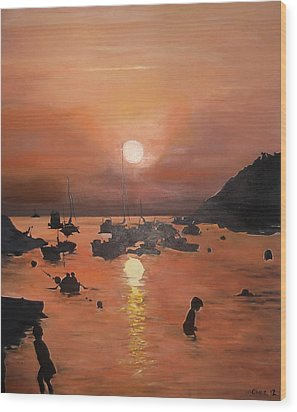 Wood Print featuring the painting Ibiza Sunset by Cherise Foster