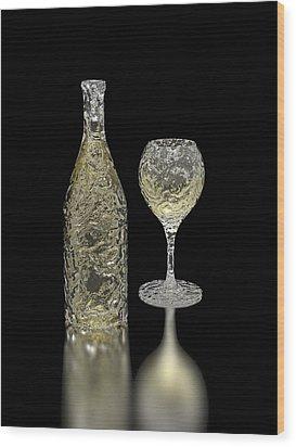 Ice Bottle And Glass Wood Print by Hakon Soreide