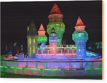 Ice Castle Wood Print by Brett Geyer