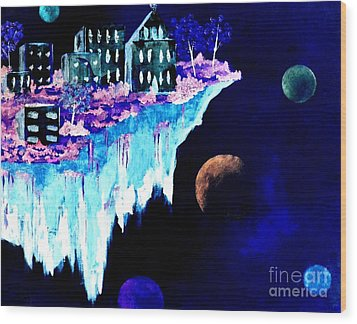 Ice City In Space Wood Print by Denise Tomasura