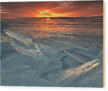 Ice Collage Wood Print by Gregory Israelson