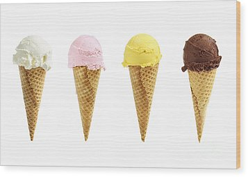 Ice Cream In Sugar Cones Wood Print by Elena Elisseeva