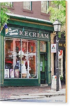 Alexandria Va - Ice Cream Parlor Wood Print by Susan Savad