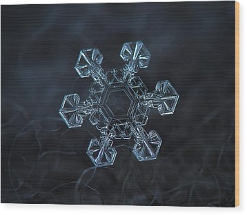 Wood Print featuring the photograph Snowflake Photo - Ice Crown by Alexey Kljatov