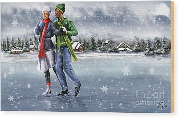 Ice Dancing On The Lake Wood Print by Reggie Duffie