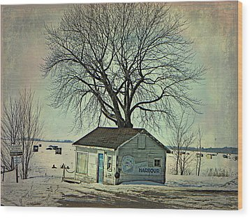 Ice Fishing  Wood Print by Dianne  Lacourciere