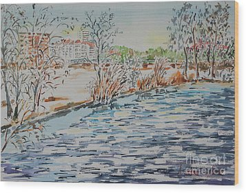 Wood Print featuring the painting Ice Floes On River Rednitz by Alfred Motzer