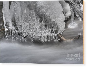 Ice Formation Above Stream Wood Print by Dan Friend
