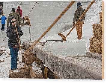 Ice Harvest Wood Print