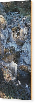 Ice Is Encrusting A Waterfall Wood Print by Ulrich Kunst And Bettina Scheidulin