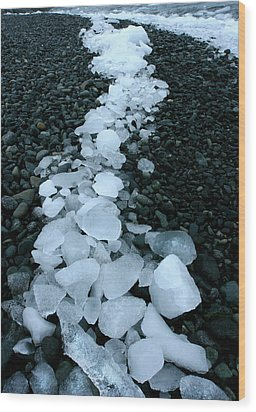 Wood Print featuring the photograph Ice Pebbles by Amanda Stadther