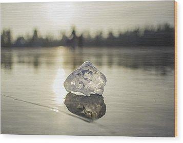 Ice Puck On Little Rock Lake Wood Print
