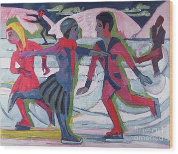 Ice Skaters  Wood Print by Ernst Ludwig Kirchner