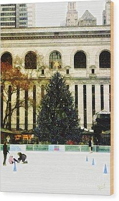 Ice Skating During The Holiday Season Wood Print by Nishanth Gopinathan