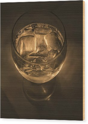 Ice Water By Candle Light Wood Print by Angela A Stanton