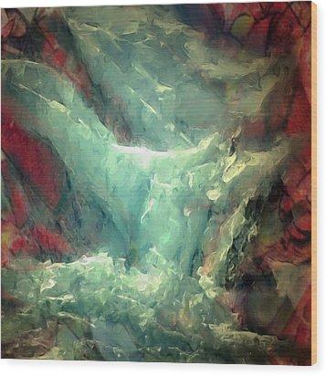 Ice Waterfall Wood Print by Danielle Arnal