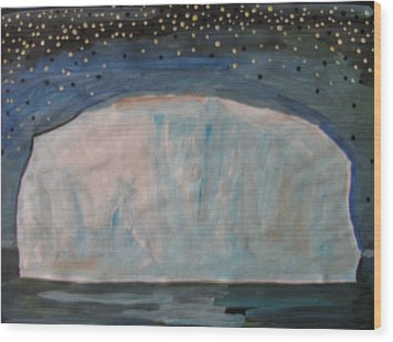 Wood Print featuring the painting Iceberg by Vikram Singh