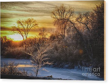 Iced Sunset Wood Print by Wanda Clowater