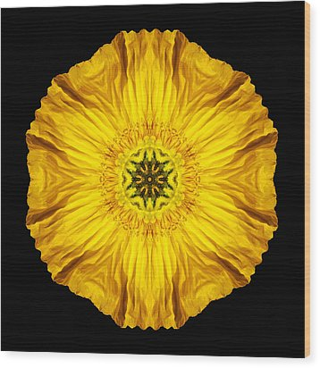Iceland Poppy Flower Mandala Wood Print