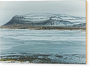 Icelandic Winter Landscape Wood Print