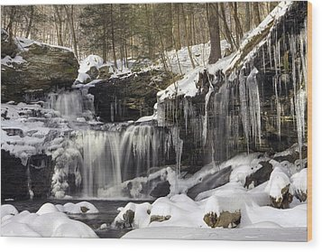 Icicles Decorate R. B. Ricketts Waterfall Wood Print by Gene Walls