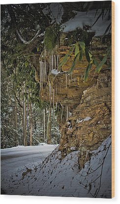 Icicles In Wv Wood Print