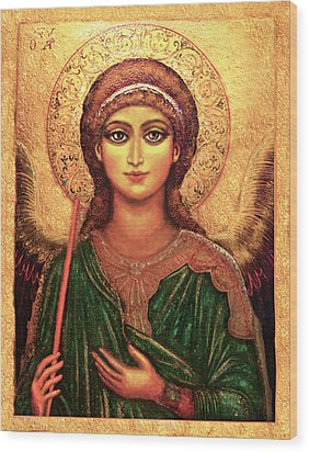 Wood Print featuring the mixed media Icon Angel by Ananda Vdovic