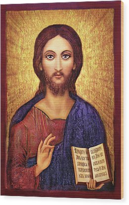 Wood Print featuring the mixed media Icon Christ by Ananda Vdovic
