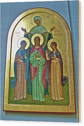 Icon Inside Chesme Church Built By Catherine The Great In Saint  Petersburg-russia Wood Print by Ruth Hager