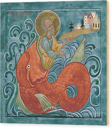 Icon Of Jonah And The Whale Wood Print by Juliet Venter