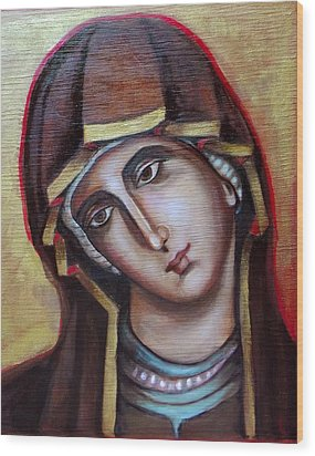 Wood Print featuring the painting Icon Of Virgin Mary by Irena Mohr