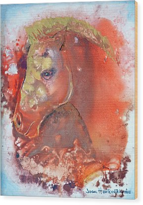 Wood Print featuring the painting Iconic Horse Head by Joan Hartenstein