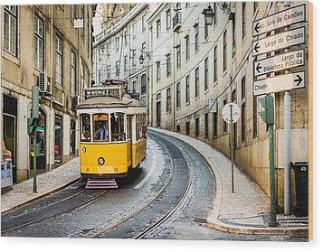 Iconic Lisbon Streetcar No. 28 IIi Wood Print by Marco Oliveira