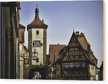 Iconic Rothenburg Wood Print by Joanna Madloch