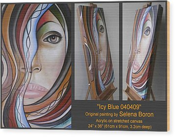 Wood Print featuring the painting Icy Blue 040409 Comp by Selena Boron